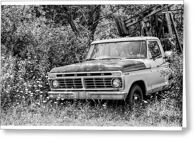 Retirement Ford Truck In Field Greeting Card by Randy Steele