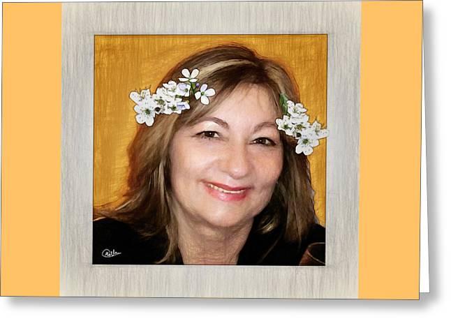 Retrato De Rita Greeting Card by Joaquin Abella