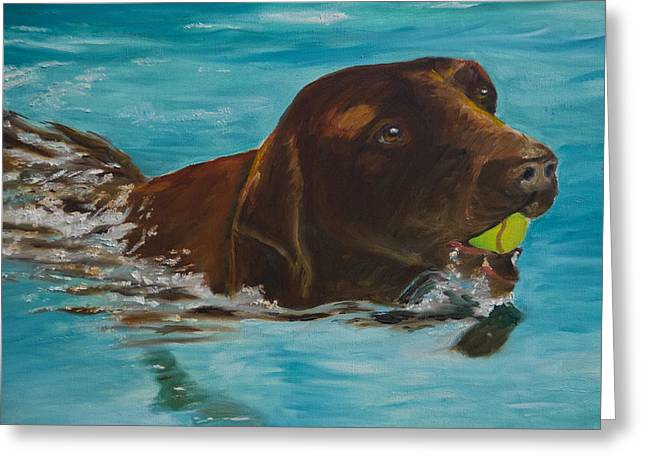Chocolate Lab Greeting Cards - Retriever Play Greeting Card by Roger Wedegis