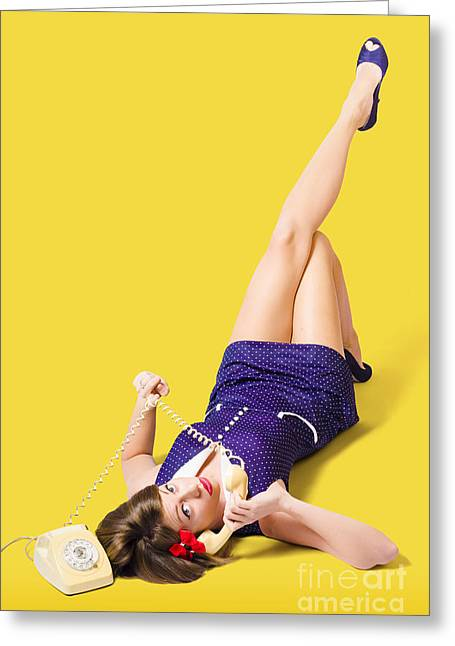 Retro 1950s Pinup Girl Chatting On Telephone Greeting Card by Jorgo Photography - Wall Art Gallery