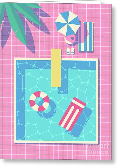 Retro 80s Swimming Pool Greeting Card