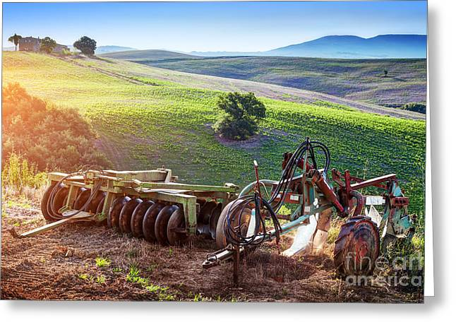 Retro Agriculture Machines. Italy Greeting Card by Michal Bednarek