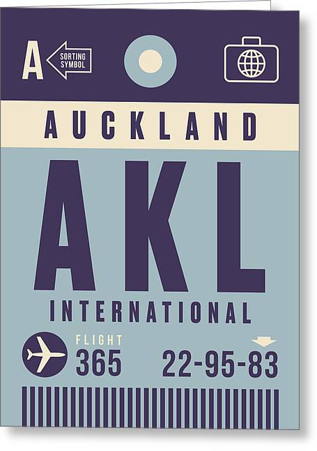 Retro Airline Luggage Tag - Akl Auckland Greeting Card
