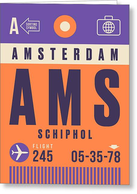 Retro Airline Luggage Tag - Ams Amsterdam Schiphol Greeting Card