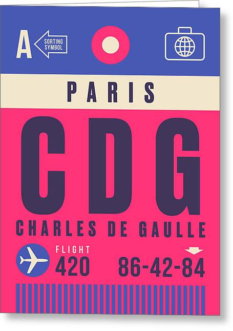 Retro Airline Luggage Tag - Cdg Paris Charles De Gaulle Greeting Card