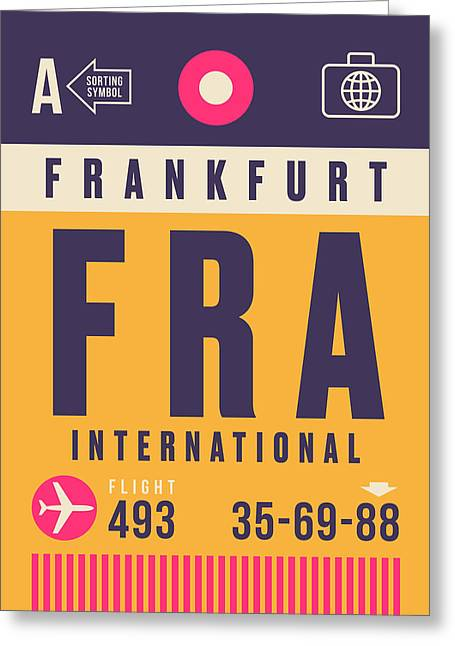 Retro Airline Luggage Tag - Fra Frankfurt Greeting Card