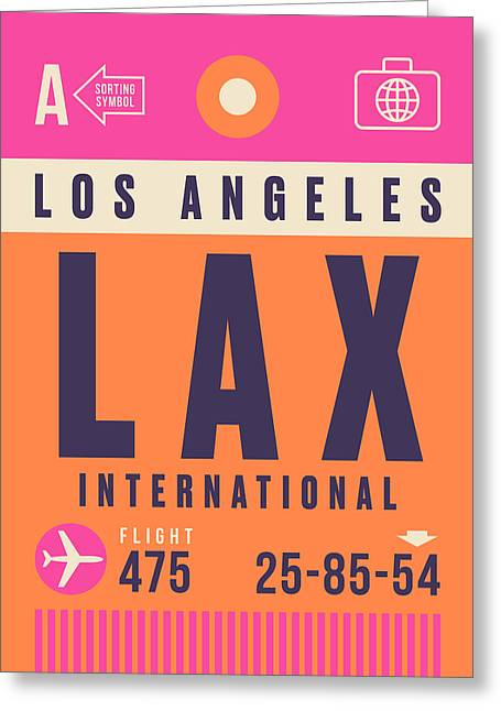 Retro Airline Luggage Tag - Lax Los Angeles Greeting Card