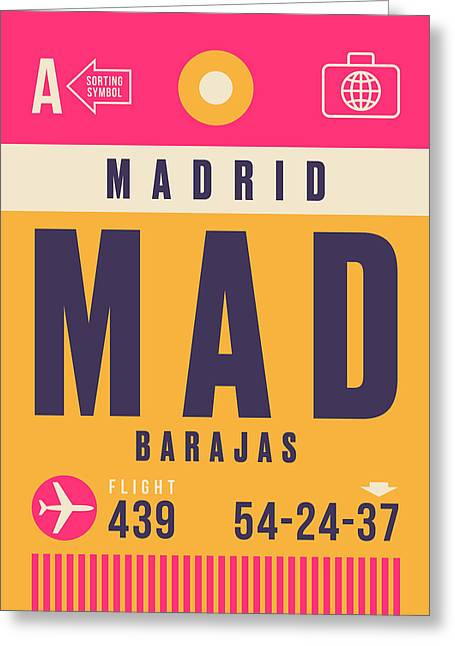 Retro Airline Luggage Tag - Mad Madrid Barajas Greeting Card
