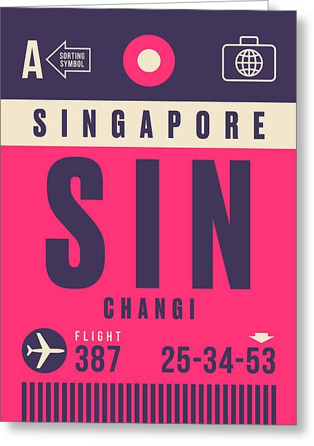 Retro Airline Luggage Tag - Sin Singapore Changi Greeting Card