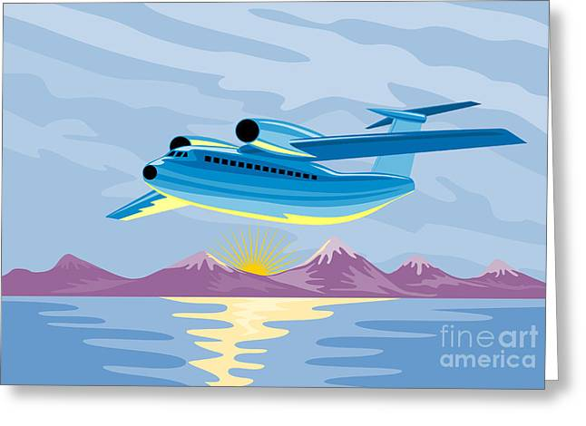 Retro Airliner Flying  Greeting Card by Aloysius Patrimonio