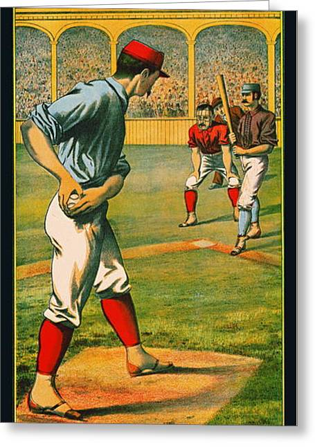 Retro Baseball Game Ad 1885 A Greeting Card by Padre Art
