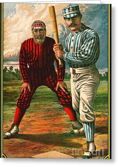Retro Baseball Game Ad 1885 B Crop Greeting Card by Padre Art