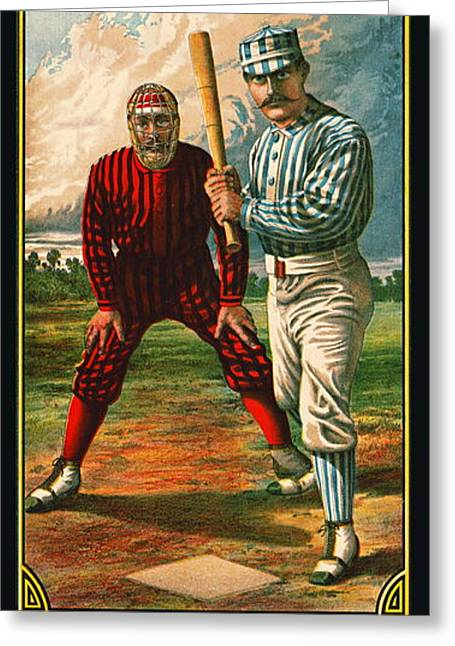 Retro Baseball Game Ad 1885 B Greeting Card by Padre Art