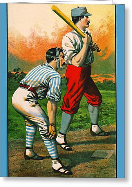Retro Baseball Game Ad 1885 C Greeting Card by Padre Art
