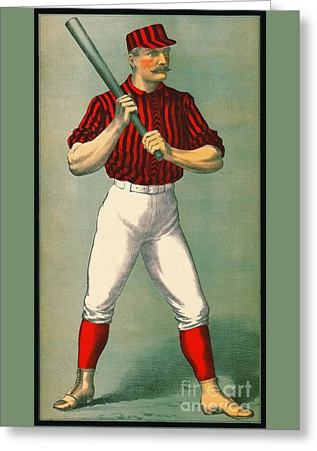 Retro Baseball Game Ad 1885 Crop Greeting Card by Padre Art