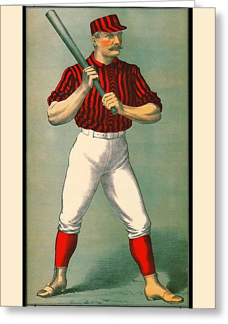 Retro Baseball Game Ad 1885 Greeting Card by Padre Art