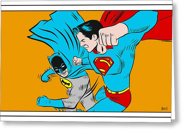 Greeting Card featuring the digital art Retro Batman V Superman by Antonio Romero