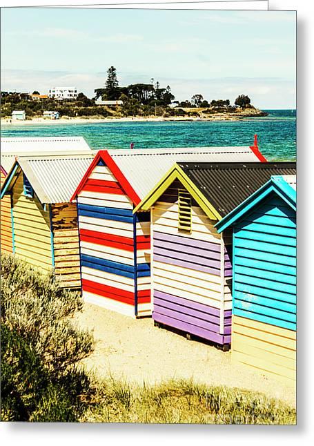 Retro Beach Boxes Greeting Card