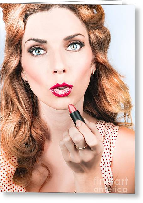 Retro Beauty Pin Up Girl Applying Lipstick Makeup Greeting Card