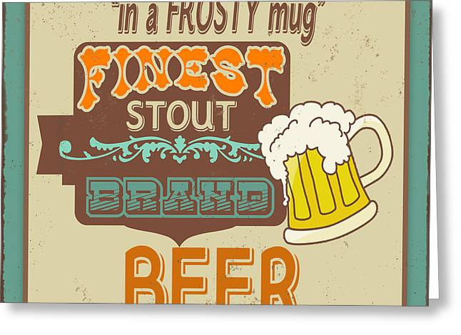 Retro Beer Sign-jp2917 Greeting Card by Jean Plout