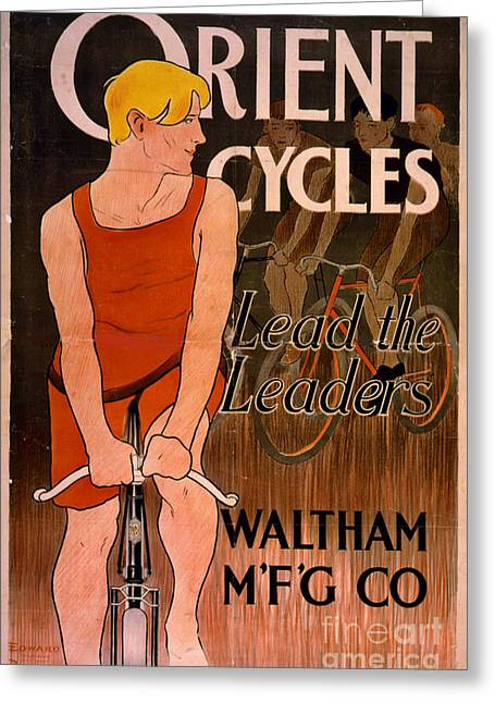 Greeting Card featuring the photograph Retro Bicycle Ad 1890 by Padre Art