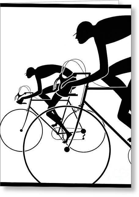 Retro Bicycle Silhouettes 2 1986 Greeting Card
