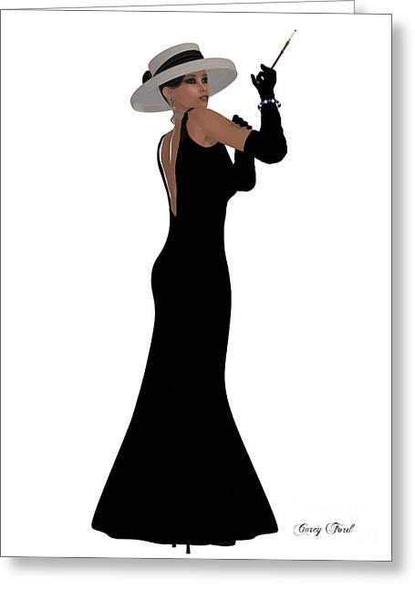 Retro Black Dress Greeting Card by Corey Ford