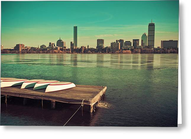Retro Boston Greeting Card by Andrew Kubica