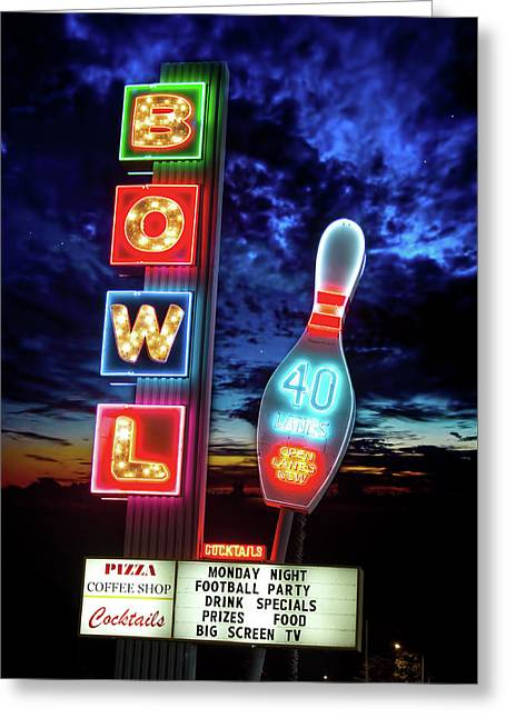 Retro Bowling Alley Sign Greeting Card