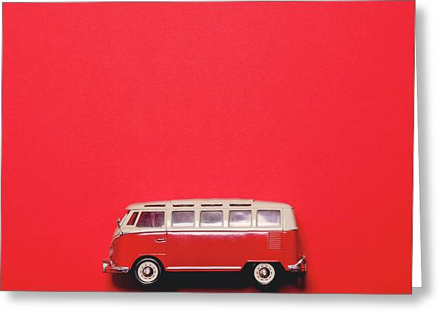 Retro Bus On Red Background - Minimal Design  Greeting Card