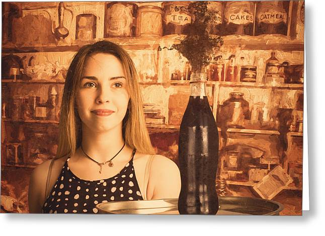 Retro Cafe Tin Sign Waitress Greeting Card by Jorgo Photography - Wall Art Gallery