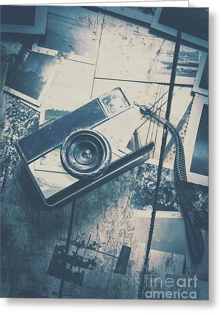 Retro Camera And Instant Photos Greeting Card