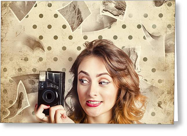 Retro Camera Girl With Instant Idea Greeting Card