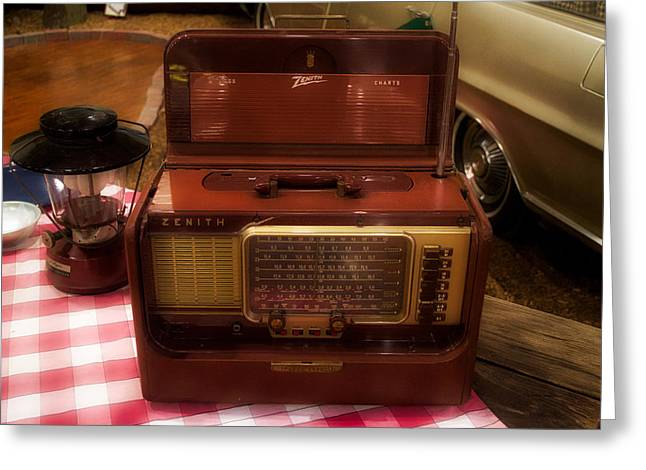 Retro Camping Zenith Portable Radio Greeting Card by Thomas Woolworth