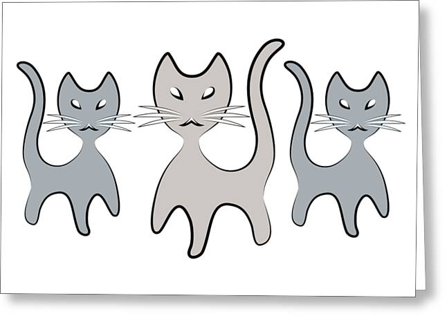 Retro Cat Graphic In Grays Greeting Card