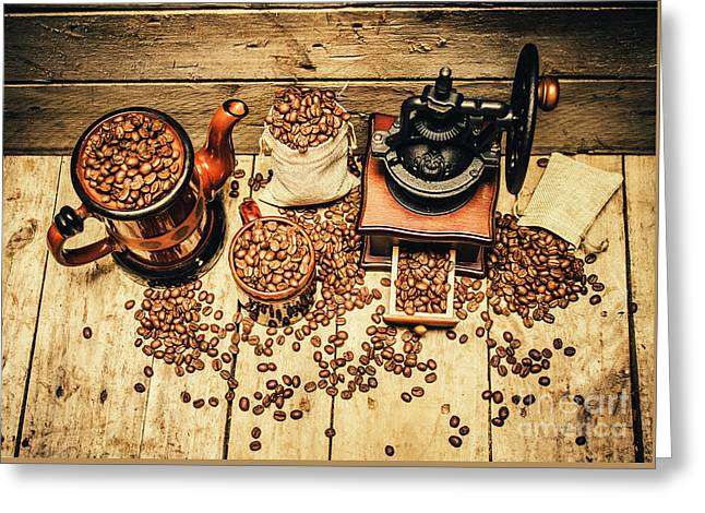 Retro Coffee Bean Mill Greeting Card