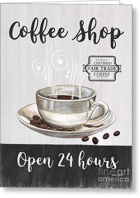 Greeting Card featuring the painting Retro Coffee Shop 1 by Debbie DeWitt