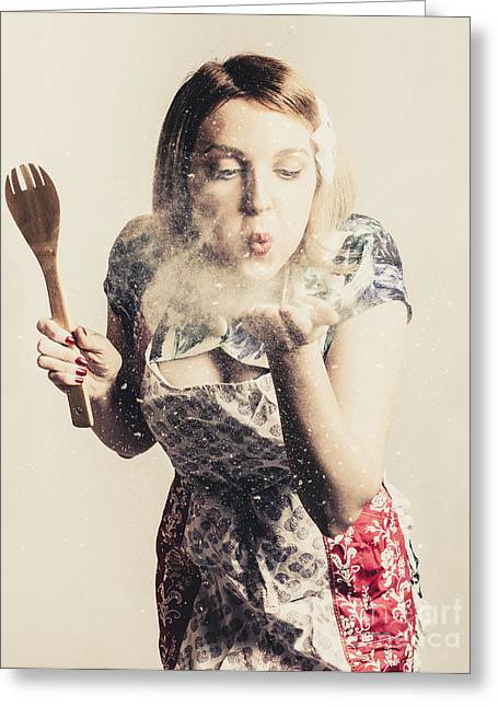 Retro Cooking Woman Giving Recipe Kiss Greeting Card by Jorgo Photography - Wall Art Gallery