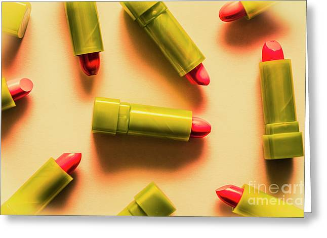 Retro Cosmetic Lipstick Background Greeting Card by Jorgo Photography - Wall Art Gallery