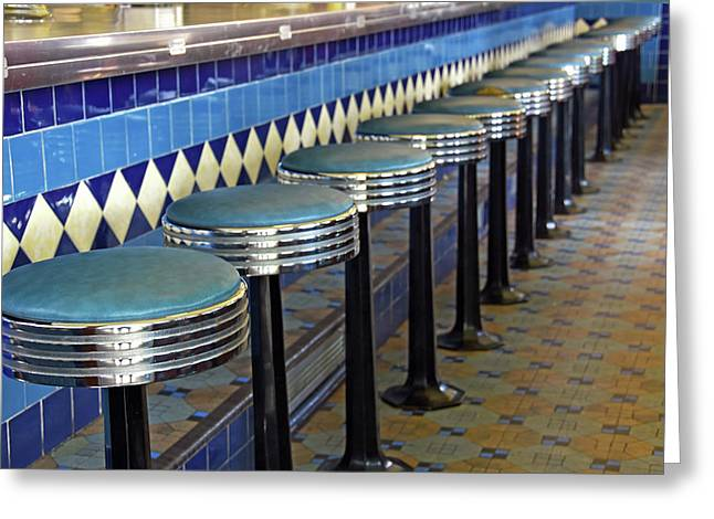 Retro Diner Stools Greeting Card by Maria Dryfhout
