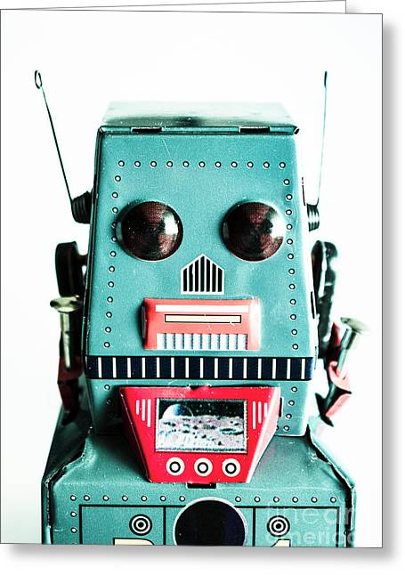 Retro Eighties Blue Robot Greeting Card by Jorgo Photography - Wall Art Gallery