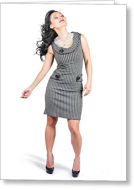 Retro Fashion Beauty. Full Length Portrait Greeting Card by Jorgo Photography - Wall Art Gallery