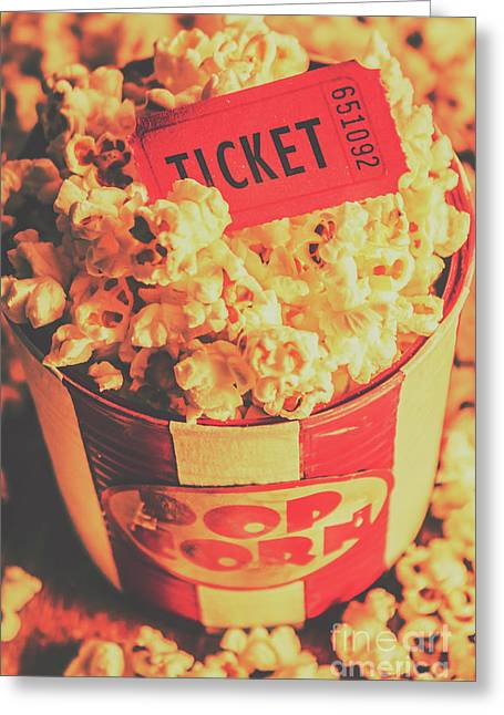 Retro Film Stub And Movie Popcorn Greeting Card by Jorgo Photography - Wall Art Gallery