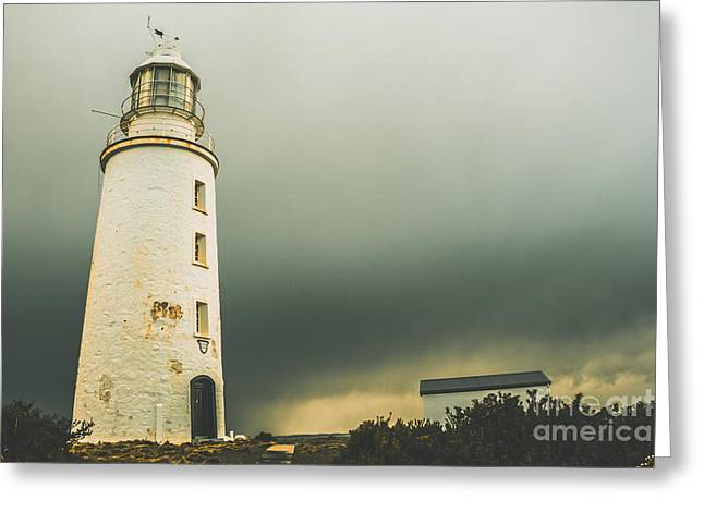 Retro Filtered Lighthouse Greeting Card by Jorgo Photography - Wall Art Gallery