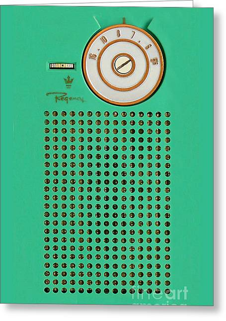 Retro Geek Gumby Green Transistor Radio Design Greeting Card by Tina Lavoie