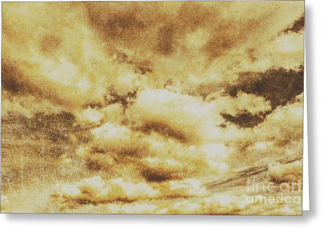 Retro Grunge Cloudy Sky Background Greeting Card