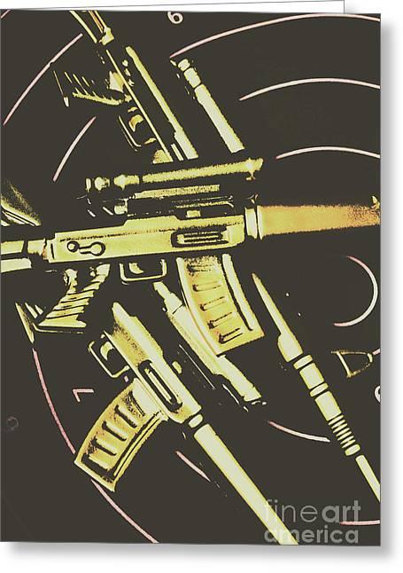 Retro Guns And Targets Greeting Card