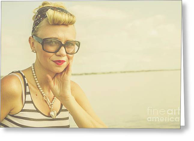 Retro Hair And Fashion Pinup Greeting Card by Jorgo Photography - Wall Art Gallery