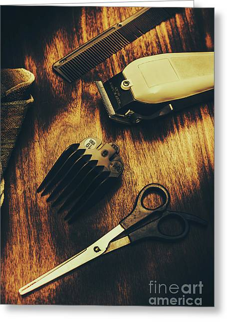 Retro Hairdressing Objects Greeting Card by Jorgo Photography - Wall Art Gallery