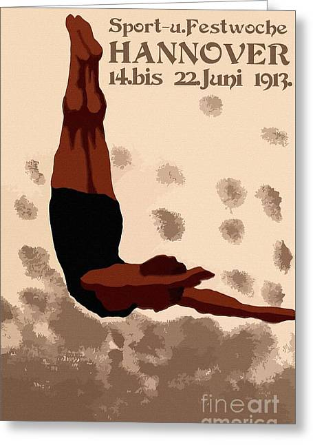 Retro Hannover Germany Sports Diving Neue Sachlichkeit Greeting Card